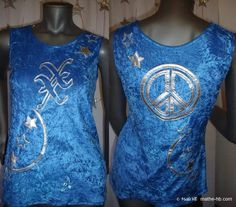 t-shirt top, peace and love, turquoise blue, velvet and silver vinyl, festival of stars, psychedelic evening night party, scene theater show