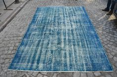 Blue Overdyed Handmade Rug, Turkish Oushak Carpet, Vintage Blue Rug, Perfect Condition Size (290 cm x 189 cm) 9,5 feet x 6,2 feet model: 126 by OushakRugs on Etsy