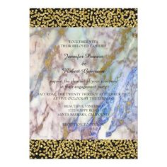 Engagement Party Marble White Gray Gold Confetti 13 Cm X 18 Cm Invitation Card