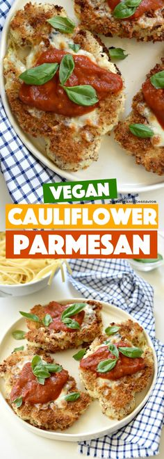 Go meatless for dinner with this Cauliflower Parmesan; pairs perfectly with spaghetti!
