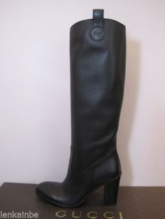 48e86837d3a69 Gucci Script Knee High Boots Black Leather 40.5 10.5 $1350 Gucci Boots,  High Knees,