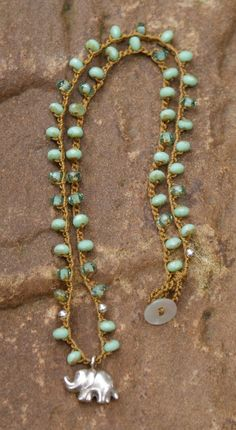 Elephant crochet beaded necklace lucky symbol by Mollymoojewels