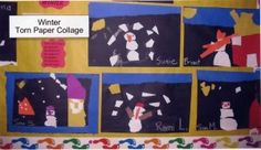 winter torn paper collages