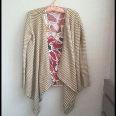 Draped Cardigan Tan striped draped cardigan. Good used condition. Merona Sweaters