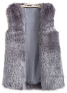 Grey Sleeveless Pockets Fox Fur Vest via SheInside #giftguide #wishlist #giftideas #yourstylistkaren