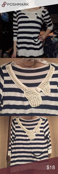 Striped Sweater with Embellished Bow Striped Sweater with Embellished Bow Striped Sweater Navy and Off-White Striped Sweater. The bow at the top is made of pearls and has a small pocket in the front. Used but in great condition!  Has slight minor pilling, in good condition. No tears, stains. Smoke free home. Embellished with pearls near neck. Charlotte Russe Sweaters
