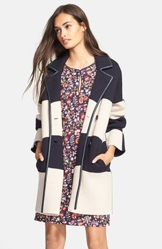 Tory Burch Colorblock Merino Wool Coat available at #Nordstrom