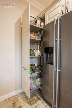 Larder Cupboard, Kitchen Cupboard Doors, Kitchen Storage, Kitchen Room Design, Modern Kitchen Design, Modern Kitchens, French Door Refrigerator, Countertops, Kitchen Appliances