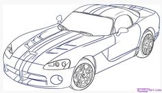 A World Of Cars: Car pictures to color Drawings To Trace, Car Drawings, Pencil Drawings, Truck Coloring Pages, Coloring Sheets, Coloring Books, Dodge Viper, Viper Car, Car Sketch