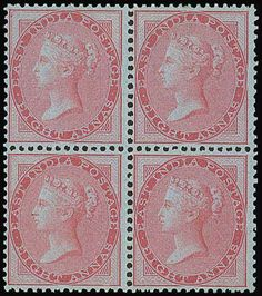carmine block of four, fresh unused with part original gum; very fine and an outstanding rarity. Rare Stamps, Picture Postcards, Rarity, Indie, Auction, Paper, Pictures, World, Stamps