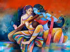Radha Krishna Painting by Sanjay Tandekar Religious Paintings, Indian Art Paintings, Modern Art Paintings, Contemporary Artwork, Beautiful Paintings, Buddha Painting, Krishna Painting, Krishna Art, Krishna Images