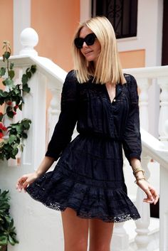 Mila black dress with lace trim - vintage - love it!