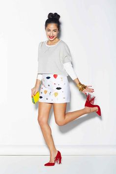 Dior earrings, Stella McCartney skirt, Dolce & Gabbana bag, Chanel vintage cuffs, Alexandre Birman shoes.