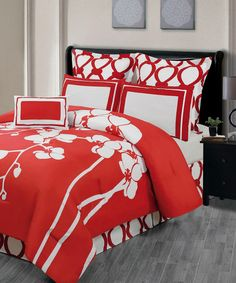 Look at this Red Orchidea Reversible Overfilled Comforter Set on #zulily today!
