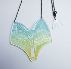 Colorful Fox Totem Plexiglas Necklace, made in France