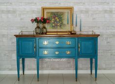Vintage Prominent Front Hand Painted Tranquil French Server-Buffet, Sideboard, Console Cabinet by FERIDESIGNS on Etsy