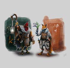 The Rooster and the Fox (illustration), Balint Bartis on ArtStation at https://www.artstation.com/artwork/WQ0g2