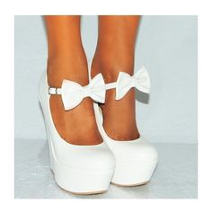 Koi Couture Ladies HR110 White Pu Leather Bow Wedges ($42) ❤ liked on Polyvore featuring shoes, heels, couture shoes, polyurethane shoes, white wedge shoes, wedges shoes and pu shoes