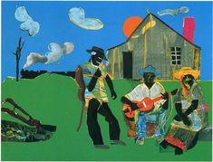 Jeremiah's Sunset Guitar - collage on board, x African American Artist, American Artists, African Art, Villa Romaine, Romare Bearden, Collage Artists, Famous Artists, Artist Art, Black Art
