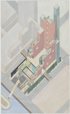 "Rem Koolhaas, Zoe Zenghelis, Elia Zenghelis, Madelon Vriesendorp. Egg of Columbus Circle, project, New York, New York, Axonometric. 1975. OMA (Office for Metropolitan Architecture). Ink and acrylic on paper. 44 1/2 x 27"" (113 x 68.6 cm). Gift of Kenneth Walker. 110.1992. © 2017 Rem Koolhaas. Architecture and Design"