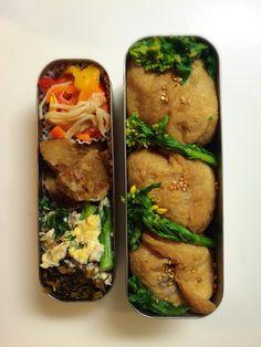 BENTO for my husband お稲荷さん、蒸し菜の花、カニカマとパプリカのパクチードレッシング和え、おジャガの旨煮、菜の花と卵の炒め物、高菜漬け