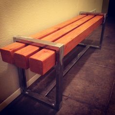 "This was my first welding project.  I made this bench for a hallway in my house that was weird and empty.  It brought some life to the space.  I used 1.5"" x 1"" steel and 4""x4"" pine.  I used clear coat on the steel and varnish on the wood.  It's pretty basic and not all that functional, but I'm happy with the aesthetic finish."