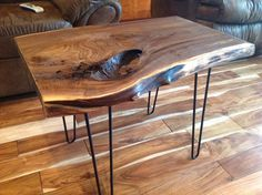 Gorgeous, Solid Walnut Live Edge Table with steel hairpin legs. Beautiful grain pattern in this thick, live edge, wood slab, side table.