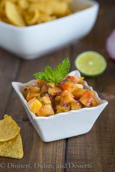 Peach Salsa - fresh peaches bring so much flavor to this salsa. Summer Recipes, New Recipes, Favorite Recipes, Appetizer Recipes, Dinner Recipes, Appetizers, Peach Salsa Recipes, Side Dish Recipes, Easy Healthy Recipes