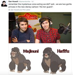 """Dan and Phil in """"Lion Guard"""" ------They even have their hair on the gorillas omfg"""
