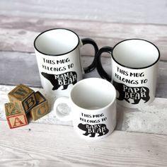 Mugs famille ours, bébé, maman, Papa ours ensemble, Animal ours typographie conception et devis, tasse à café, tasse heureux, Royaume-Uni