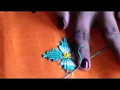 Hand embroidery Kadai kamal stitch tutorial BORDADO INDIANO - YouTube