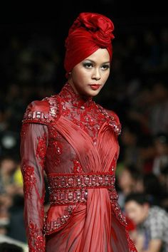 Love that red headcovering!  Indonesia. Black Woman!