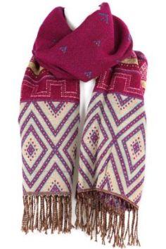 "Large Tapestry Style - Heavyweight - 100% Pashmina Scarf Shawl Wrap - Fuschia Pink & Blue - 70"" x 27"" Evolatree. $24.99"