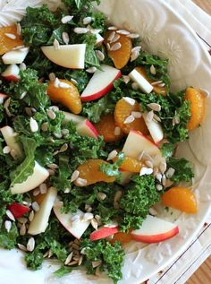 Experience this refreshing Marinated Kale Salad With Apples and Oranges! The salad is healthy and flavorful | recipe girl