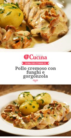 #Pollo cremoso con #funghi e #gorgonzola