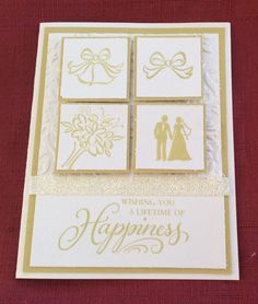 Wedding card with embossing using CTMH stamp The Happy Couple.