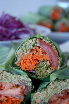 @theglobalgirl Raw Vegan Recipes: Falafel Burger Wrap in a Collard Green Leaf with carrot, sprouts, tomato, red cabbage and red onion. ***Get this fabulous recipe here: http://theglobalgirl.com/rawfoodrecipes ***