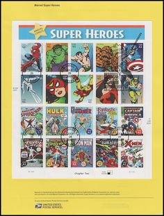 Pane Includes: 4159a Spider-Man / 4159b The Hulk / 4159c Sub-Mariner / 4159d The Thing / 4159e Captain America / 4159f Silver Surfer / 4159g Spider-Woman / 4159h Iron Man / 4159i Elektra / 4159j Wolverine / 4159k Spider-Man Comic Cover / 4159l The Hulk Comic Cover / 4159m Sub-Mariner Comic Cover / 4159n The Fantastic Four Comic Cover / 4159o Captain America Comic Cover / 4159p Silver Surfer Comic Cover / 4159q Spider-Woman Comic Cover / 4159r Iron Man Comic Cover / 4159s Elektra Comic Cover…