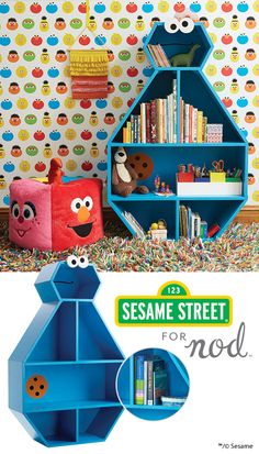 Treat your kid's room to our exclusive Cookie Monster Bookcase. Inspired by Sesame Street's beloved sweet tooth, it'll simplify organization while adding plenty of character to any space.