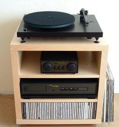 Table for turntable, records, and receiver Record Storage, Media Storage, Audio Stand, Diy Storage Cabinets, Record Player Stand, Audio Rack, Stereo Cabinet, Home Theater Rooms, Stereo Amplifier