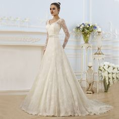 Find More Wedding Dresses Information about vestido de noiva A line Vintage V neck Appliques White Lace Wedding Gowns 2016 New Custom Cheap Long Sleeve Wedding Dresses,High Quality lace beach wedding dress,China lace silk dress Suppliers, Cheap lace shop from Kaka Dresses on Aliexpress.com
