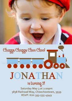 Chugga CHOO CHOO TRAIN Invite with photo. Completely Personalized and Printable. $15.00, via Etsy.   - maybe see if I can get it in Pink.