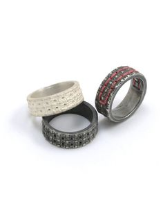 """ring-collection """"fil"""" - silver and silk-thread"""