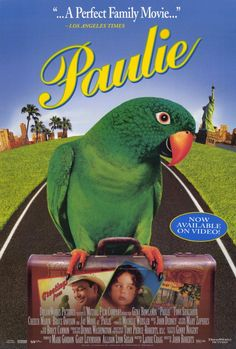 """PAULIE (1998) -- A little girl, Marie, stutters. Her parents move away, leaving a pet parrot behind. Movie is story of love and loyalty for """"Paulie"""" who goes to great lengths to be reunited with the little girl he loved. A funny film about a wisecracking parrot that can say a whole lot more than """"Paulie want a cracker"""" who goes on a cross-country adventure to be reunited with the little girl who raised him. ❤ - best movie about animal assisted therapy for speech...with a parrot!"""