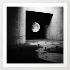 Collect your choice of gallery quality Giclée, or fine art prints custom trimmed by hand in a variety of sizes with a white border for framing.  #society6 #moon #space #art #illustration #blackandwhite #graphic #sale #surreal #abstract #Creative