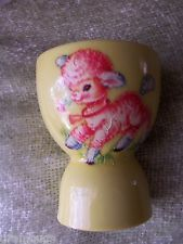 Bright Pretty Little Vintage Yellow W Pink Lamb Double Egg Cup