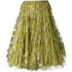 LANVIN embellished tulle skirt ($2,525) ❤ liked on Polyvore featuring skirts, bottoms, green, a line skirt, green a line skirt, tulle skirt, knee length tulle skirt and lanvin skirt
