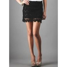 ~Black Crochet Skirt~