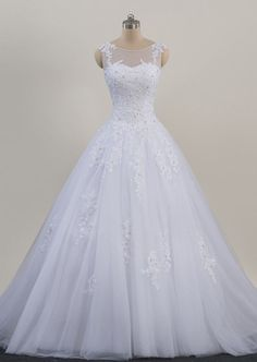 White Or Ivory Jewel A-Line Sweep/Brush Lace Tulle Wedding Gown Ball Gown Bridal Dresses Custom Made Wedding Dress Styles, Dream Wedding Dresses, Bridal Dresses, Wedding Gowns, Deb Dresses, Pretty Dresses, Beautiful Dresses, Debutante Dresses, Wedding Dress Organza