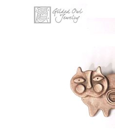 Cat Pin Large Bronze Abstract Cat Brooch quite by GildedOwlJewelry $105 Double click photo for more information